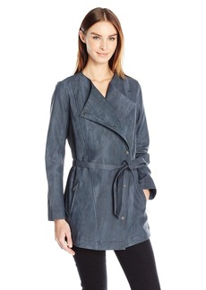 Calvin Klein Jeans Women's Marble Wash Self Tie Trench Coat  SMALL