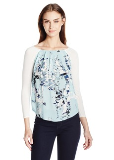 Calvin Klein Jeans Women's Mixed Media Printed Peasant Blouse