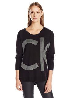 Calvin Klein Jeans Women's Nylon Sparkle Ck Logo Sweater