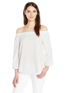 Calvin Klein Jeans Women's Off the Shoulder Stripe Top  LARGE