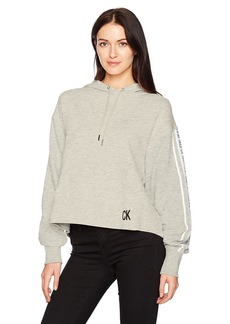 Calvin Klein Jeans Women's Oversized Crop Hoodie Logo Tape Detail  L