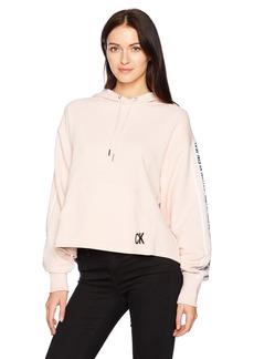 Calvin Klein Jeans Women's Oversized Crop Hoodie Logo Tape Detail  M