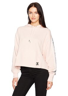 Calvin Klein Jeans Women's Oversized Crop Hoodie Logo Tape Detail  S