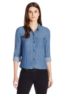 Calvin Klein Jeans Women's Oxford Crinkle Double Cloth Long Sleeve Button Down Shirt