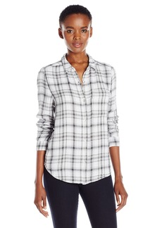 Calvin Klein Jeans Women's Plaid Crinkle Double Cloth Long Sleeve Button Down Shirt