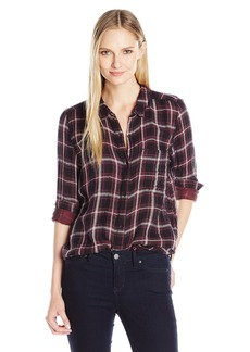 Calvin Klein Jeans Women's Plaid Crinkle Double Cloth Long Sleeve Button Down Shirt