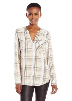 Calvin Klein Jeans Women's Plaid Long Sleeve Henley Popover Top  LARGE