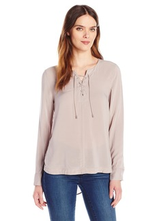 Calvin Klein Jeans Women's Hi Lo lace up Top  SMALL