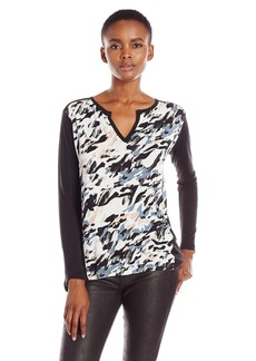 Calvin Klein Jeans Women's Printed 3/4 Sleeve Top  LARGE