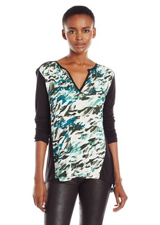 Calvin Klein Jeans Women's Printed 3/4 Sleeve Top  SMALL