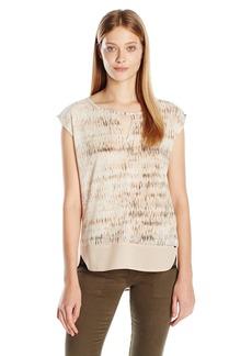 Calvin Klein Jeans Women's Printed Mixed Media Key Hole Sleeveless Tank Top