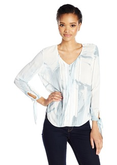 Calvin Klein Jeans Women's Printed V-Neck Peasant Blouse  L