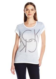 Calvin Klein Jeans Women's Reverse Spray Studded Ck Logo T-Shirt