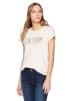 Calvin Klein Jeans Women's Satin Bonded Logo T-Shirt  XL