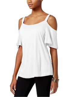 Calvin Klein Jeans Women's Short Ruffle Sleeve Cold Shoulder Top