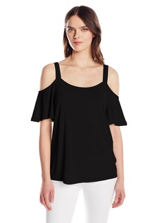 Calvin Klein Jeans Women's Short Ruffle Sleeve Cold Shoulder Top