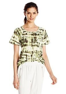 Calvin Klein Jeans Women's Short Sleeve Abstract Plaid Printed Raglan Slub Tee  Medium