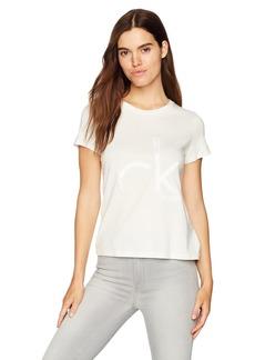 Calvin Klein Jeans Women's Short Sleeve Bonded Satin Applique Logo Crew Neck T-Shirt egret