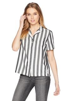 Calvin Klein Jeans Women's Short Sleeve Cropped Button Down Shirt Striped  L
