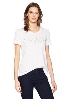 Calvin Klein Jeans Women's Short Sleeve Cropped Calvin Logo Crew Neck T-Shirt