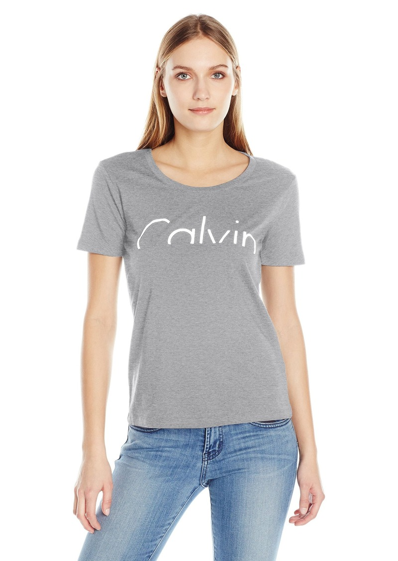 a77de3f973 Calvin Klein Jeans Women's Short Sleeve Cutoff Calvin Logo T-Shirt X-LARGE