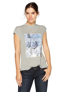 Calvin Klein Jeans Women's Short Sleeve Floral Patch with Foil Crew Neck T-Shirt