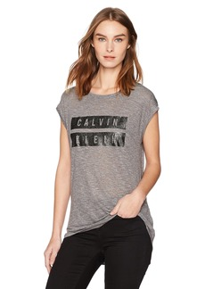 Calvin Klein Jeans Women's Short Sleeve Foil Dusted Cracked Logo Crew Neck T-Shirt