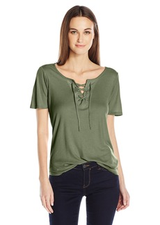 Calvin Klein Jeans Women's Short Sleeve Front Lace up T-Shirt