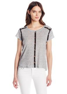 Calvin Klein Jeans Women's Short Sleeve Lace Inset T-Shirt Morning Gray HT