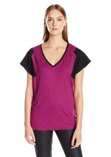 Calvin Klein Jeans Women's Short Sleeve Mixed Media V-Neck T-Shirt