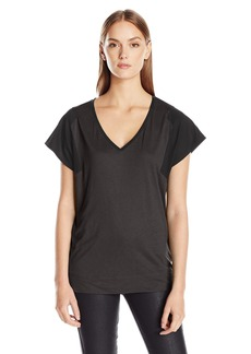 Calvin Klein Jeans Women's Short Sleeve Mixed Media V-Neck T-Shirt