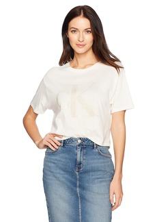 Calvin Klein Jeans Women's Short Sleeve Monogram Gel Logo Cropped Tee  L