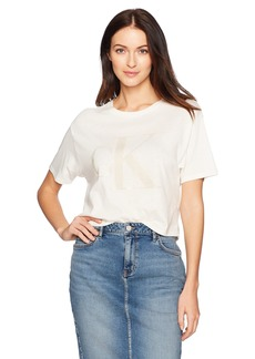 Calvin Klein Jeans Women's Short Sleeve Monogram Gel Logo Cropped Tee  L