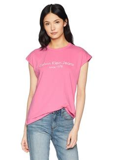 Calvin Klein Jeans Women's Short Sleeve Muscle T-Shirt CKJ Logo  L