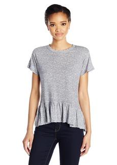 Calvin Klein Jeans Women's Short Sleeve Peplum Heather Print T-Shirt  MEDIUM