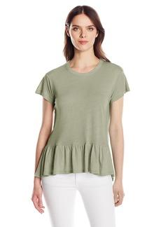 Calvin Klein Jeans Women's Short Sleeve Peplum Linen T-Shirt