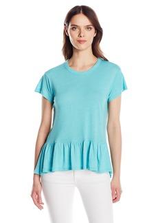 Calvin Klein Jeans Women's Short Sleeve Peplum Linen T-Shirt  X-SMALL