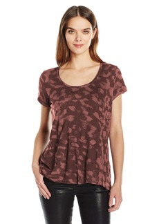 Calvin Klein Jeans Women's Short Sleeve Printed Split Back Crew Neck T-Shirt Retro Red