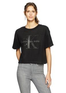 Calvin Klein Jeans Women's Short Sleeve Reverse Fleece Monogram Logo Sweatshirt  L