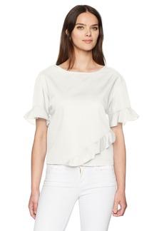Calvin Klein Jeans Women's Short Sleeve Ruffle Detail T-Shirt