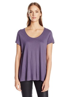 Calvin Klein Jeans Women's Short Sleeve Solid Split Back Crew Neck T-Shirt