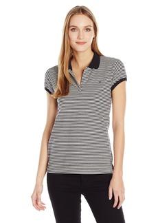 Calvin Klein Jeans Women's Short Sleeve Stripe Pique Polo Shirt  X-LARGE