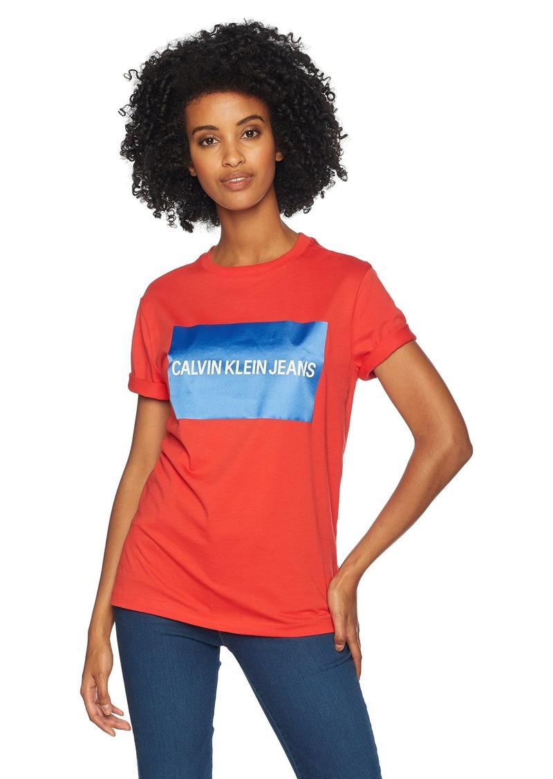 Calvin Klein Jeans Women's Short Sleeve T-Shirt Block Logo  M