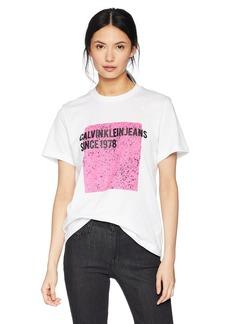 Calvin Klein Jeans Women's Short Sleeve T-Shirt Cropped Artwork Logo  S