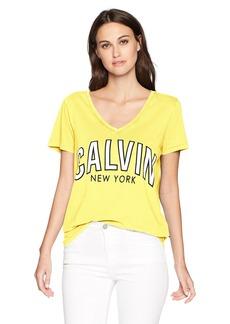 Calvin Klein Jeans Women's Short Sleeve T-Shirt Logo Flocked Design V-Neck  L