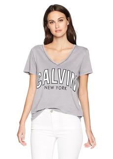 Calvin Klein Jeans Women's Short Sleeve T-Shirt Logo Flocked Design V-Neck  XS