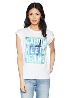 Calvin Klein Jeans Women's Short Sleeve T-Shirt Splatter Logo Satin Bonded  M