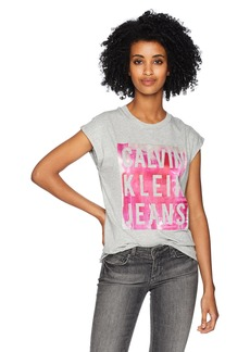Calvin Klein Jeans Women's Short Sleeve T-Shirt Splatter Print Satin Bonded Logo mica Heather M