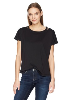 Calvin Klein Jeans Women's Short Sleeve T-Shirt with Cut Out Crew Neck  M