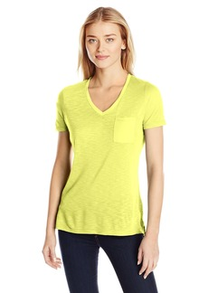 Calvin Klein Jeans Women's Short Sleeve V-Neck Slub Tee Shirt with Pocket